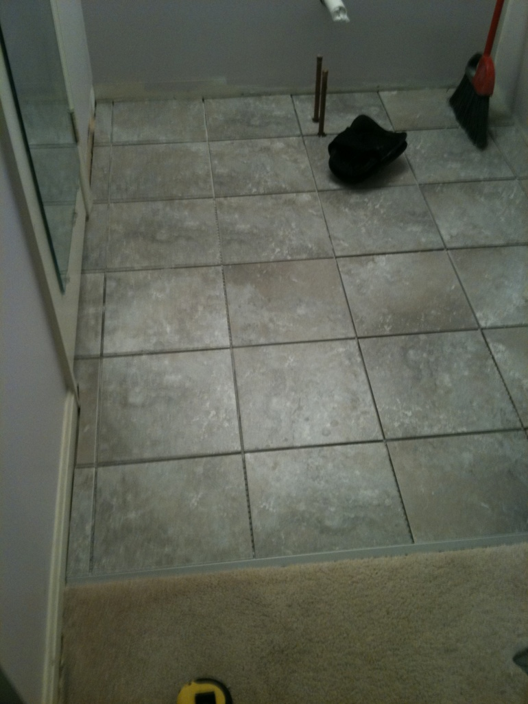 Measuring floor for tile