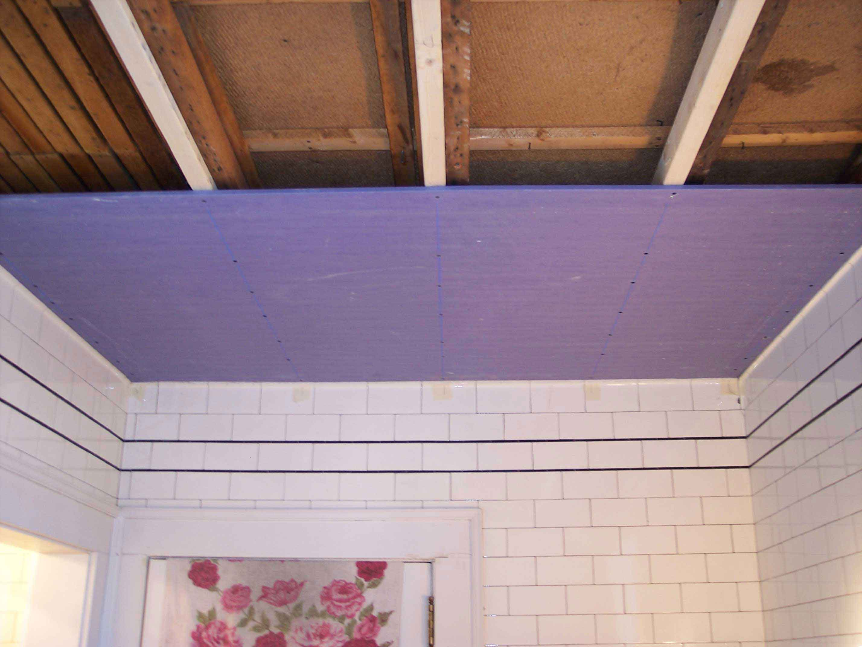 Drywall Ceiling In An Old House That Meets Tiled Walls. - Drywall ...