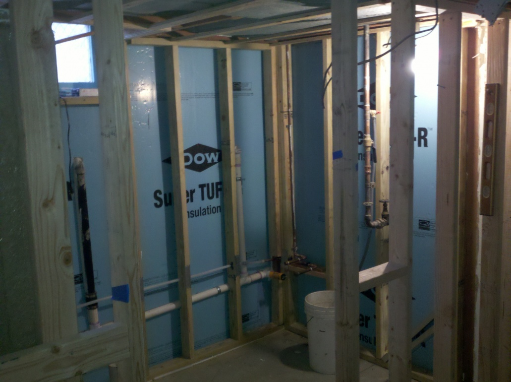 Water lines in a basement exterior wall plumbing - Basement exterior wall insulation ...