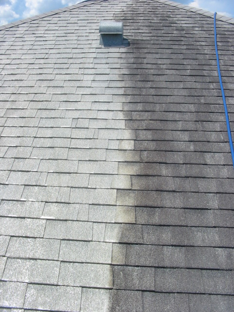 How do the roofing manufacturers say to clean roofing? Like this=-2011-shingled-roof-job.jpg