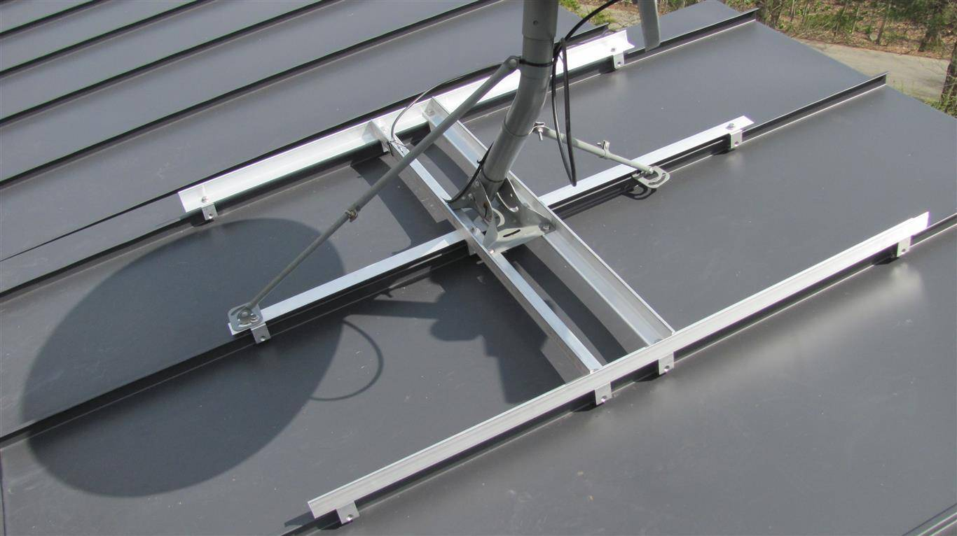 Bracing For Satellite Dish To A Standing Seam Metal Roof