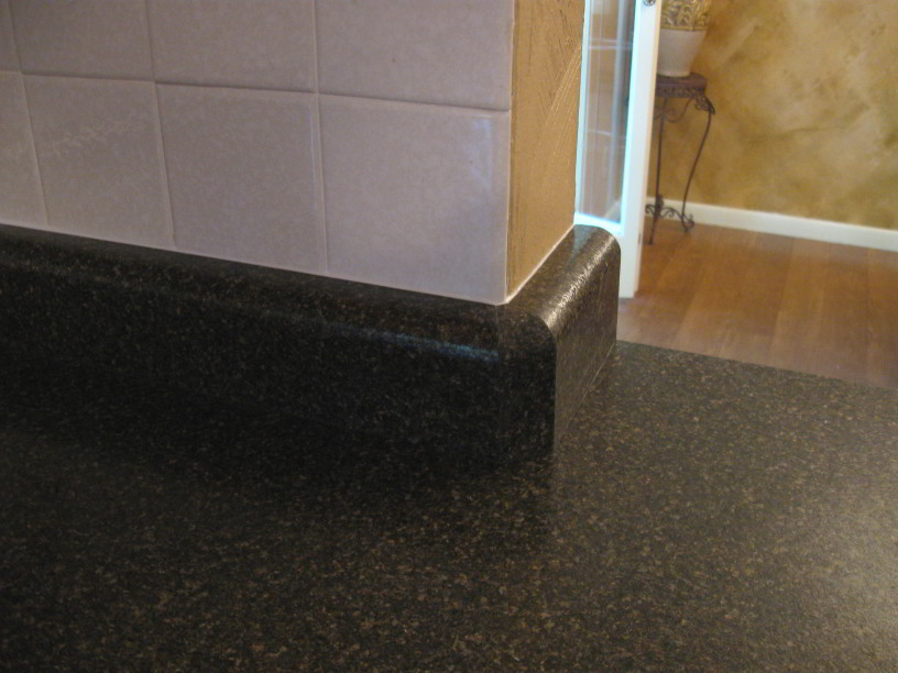 Laminate Backsplash Over Bullnose Tile