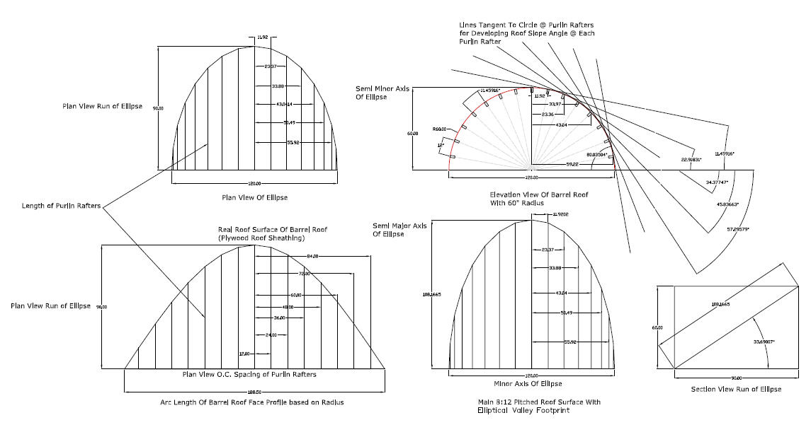 Dormer shed roof barrel roof cutin dormer eyebrow for Roof plan drawing