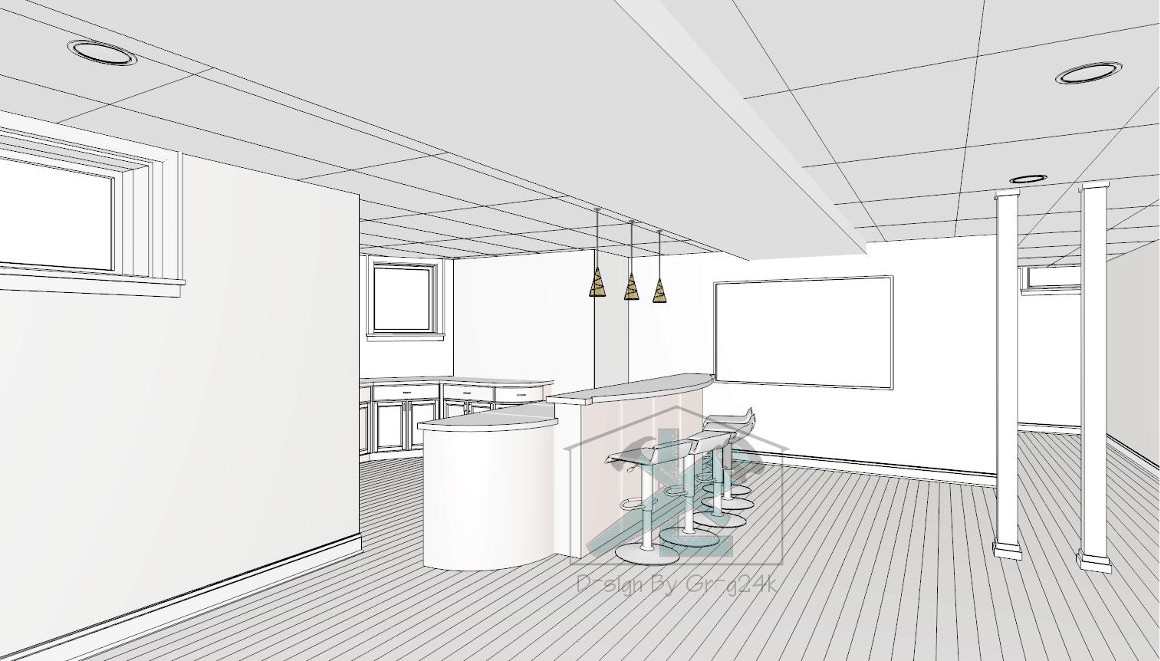 Input On Designing This Bar Would Be Appreciated. Basement Bar Layout.