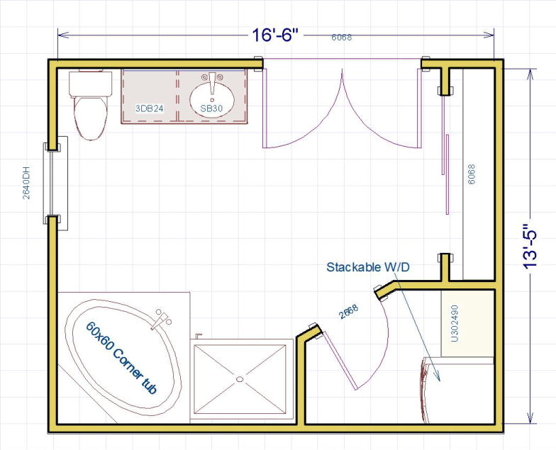 Does anyone have any ideas for this Master bath layout?  I'm stumped...-bath-layout0.jpg