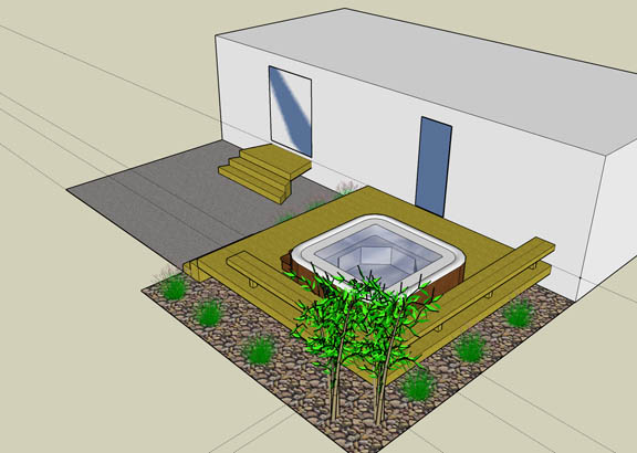 design for sunken hot tub - decks  u0026 fencing