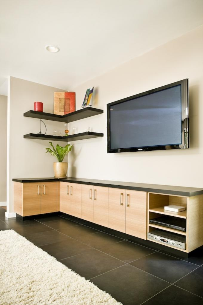 Floating shelving finish carpentry contractor talk for Living room corner tv ideas