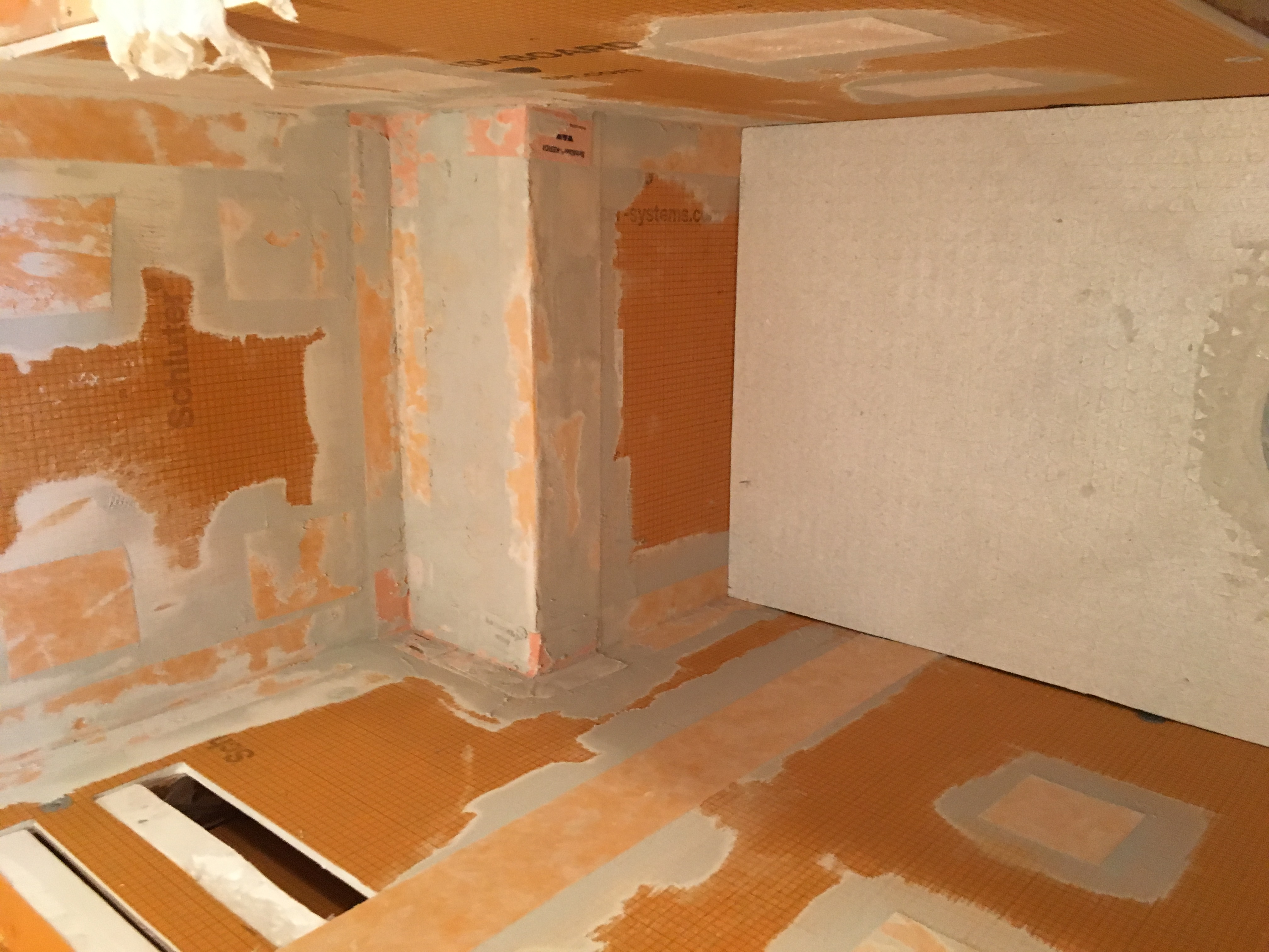 solid shower schluter walls backing for kerdi over watch