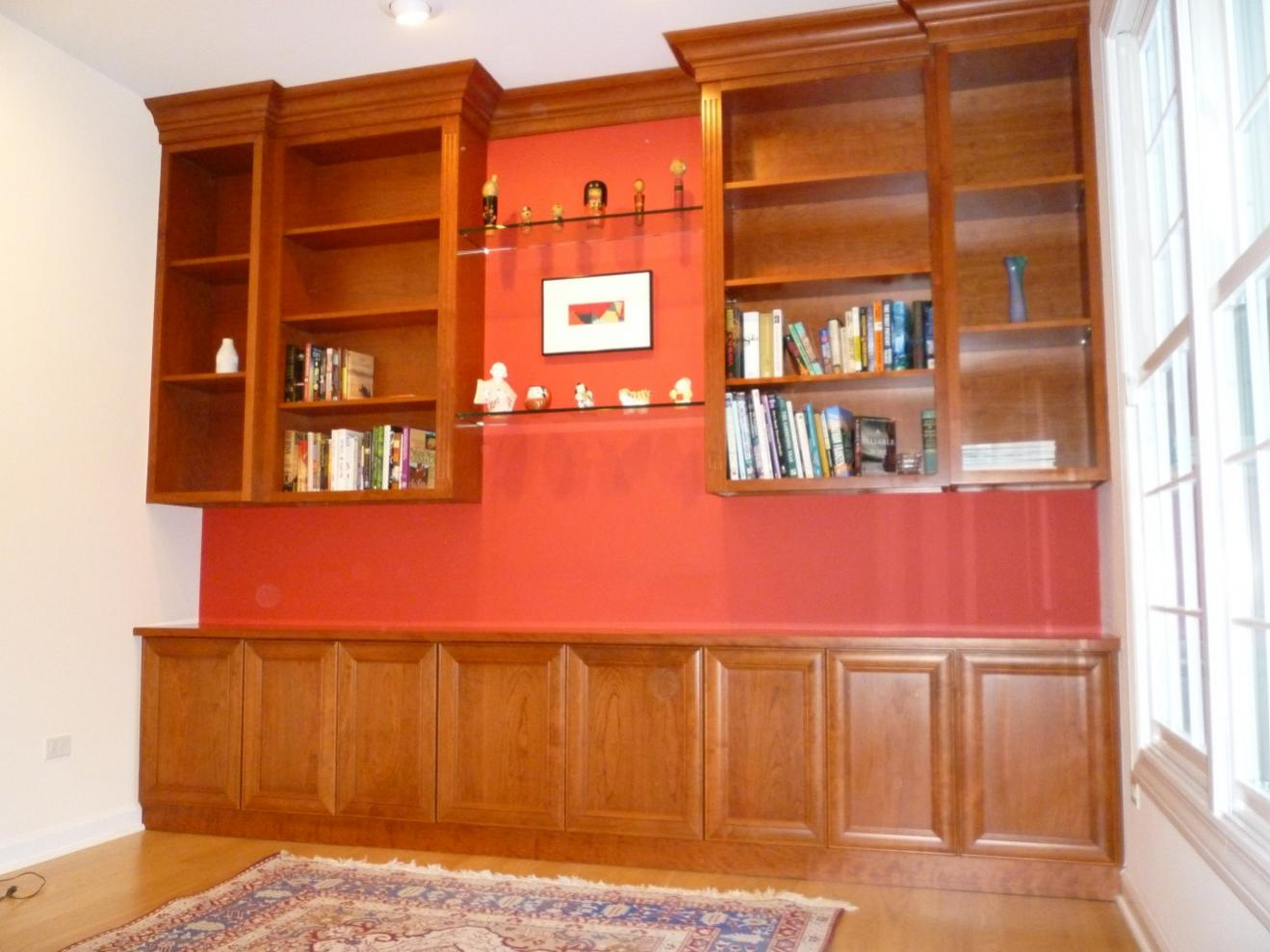 Cherry built in bookshelves finish carpentry - What did the wall say to the bookcase ...
