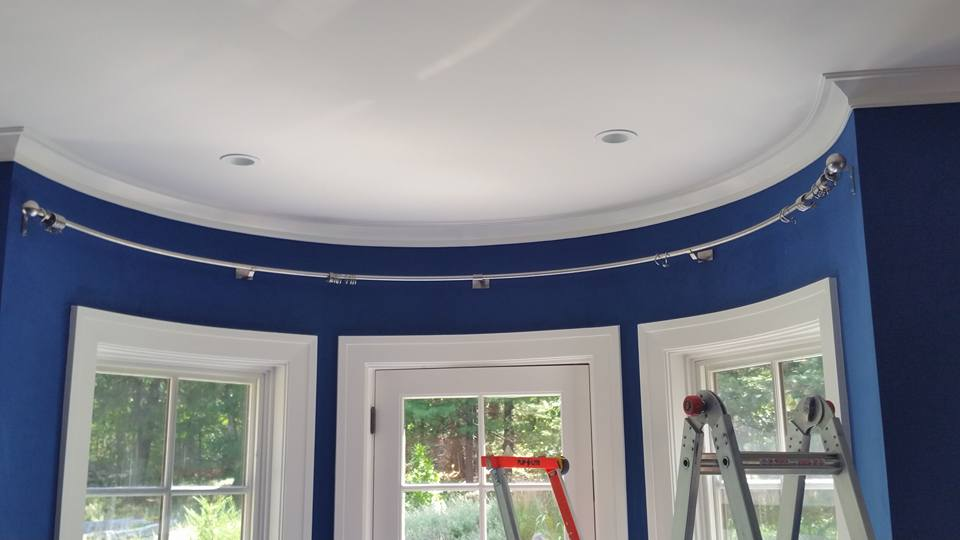 need tips on how to make a template to fabricate custom curtain rod for a curved wall