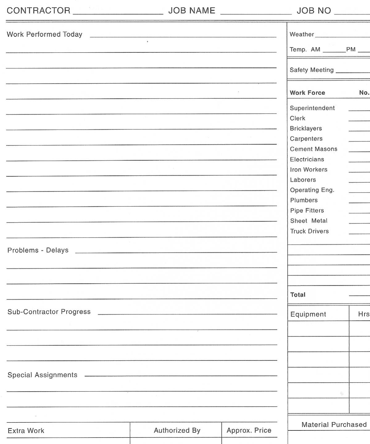 project daily log sheet template