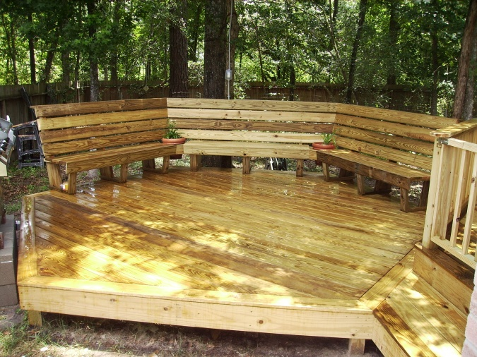 Wooden Deck with Built in Benches