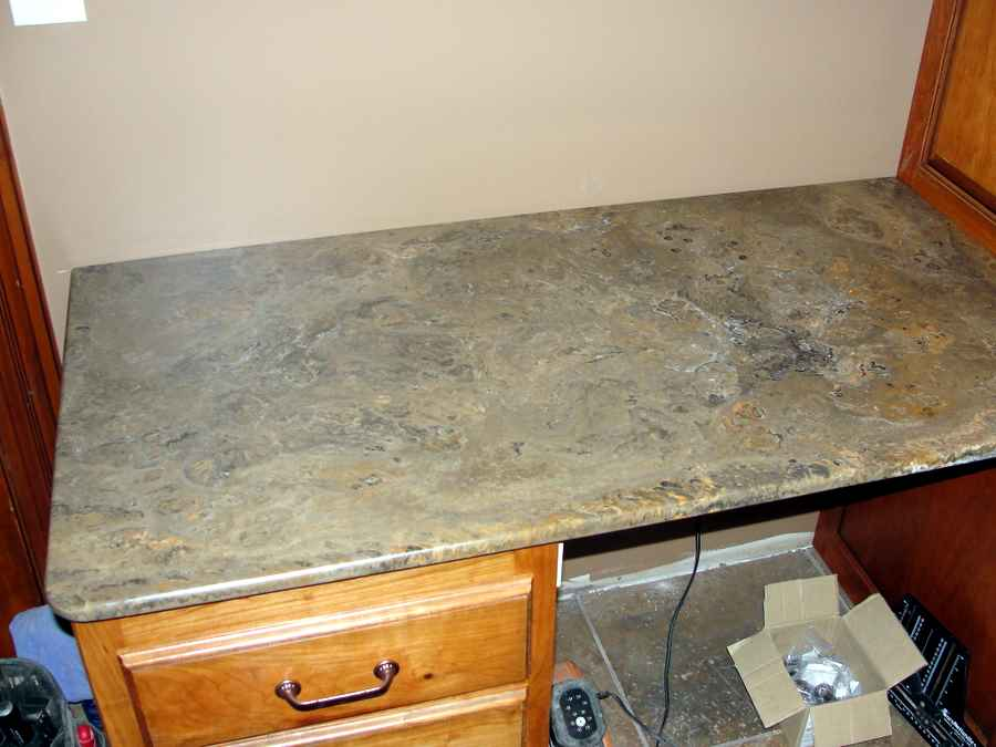First attempt at solid surface countertops kitchens for Lineal foot counter