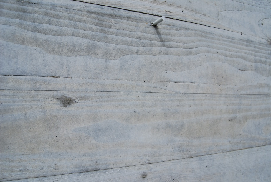 Exterior Concrete Board : Board form concrete wall water stains paving
