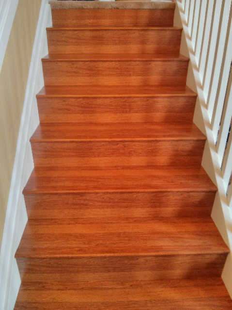 Laminate staircase flooring picture post contractor talk for Laminate flooring contractors