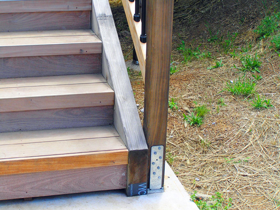 Solid Newel Post For Floating Deck Stairs Friday Steps Red