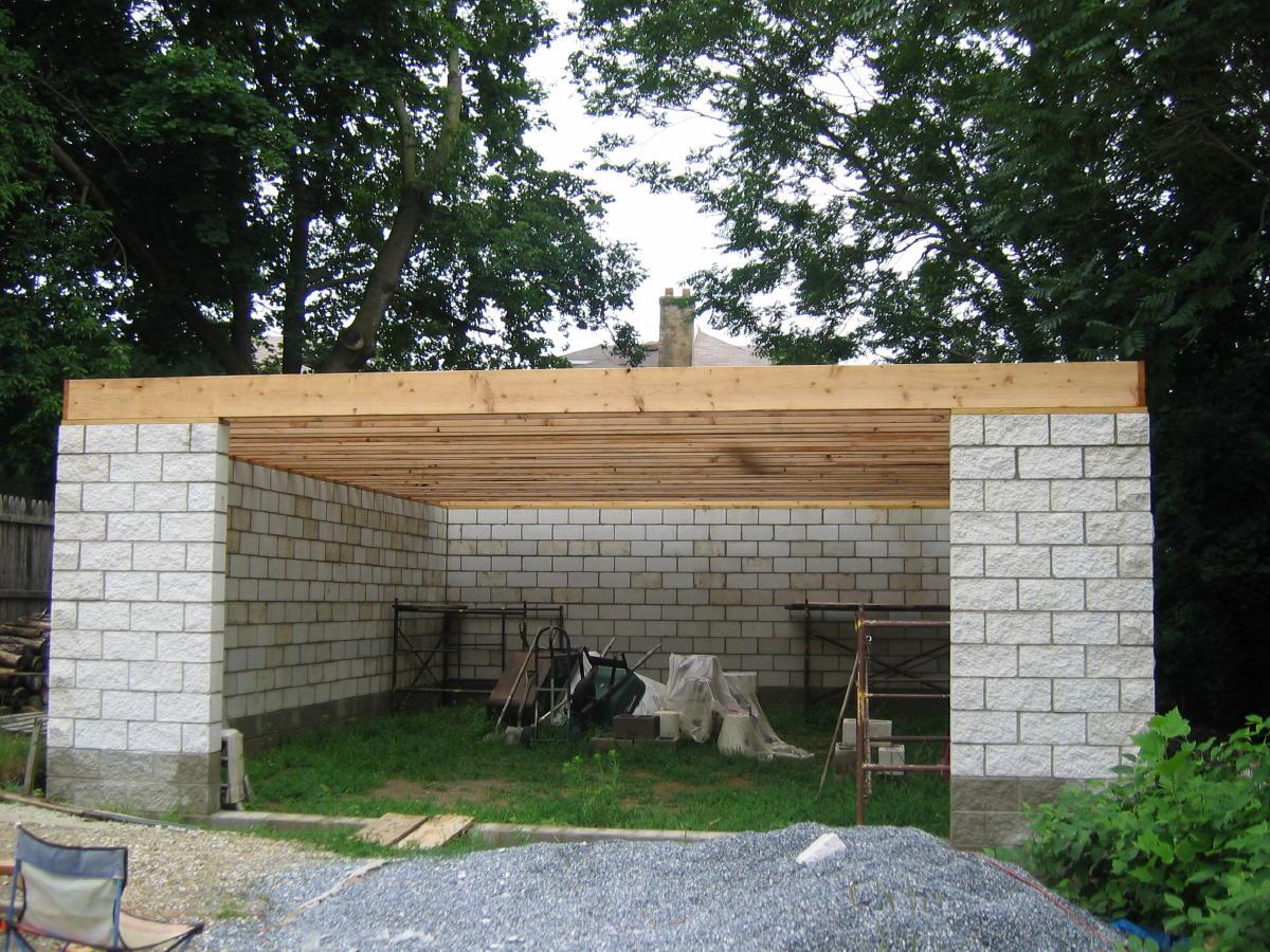 Split face block installation masonry contractor talk for Garage block