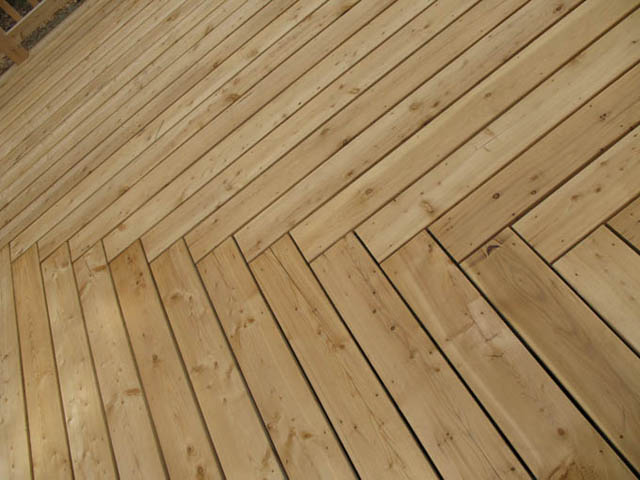 Ipe deck with herringbone pattern images frompo for Wood floor 90 degree turn