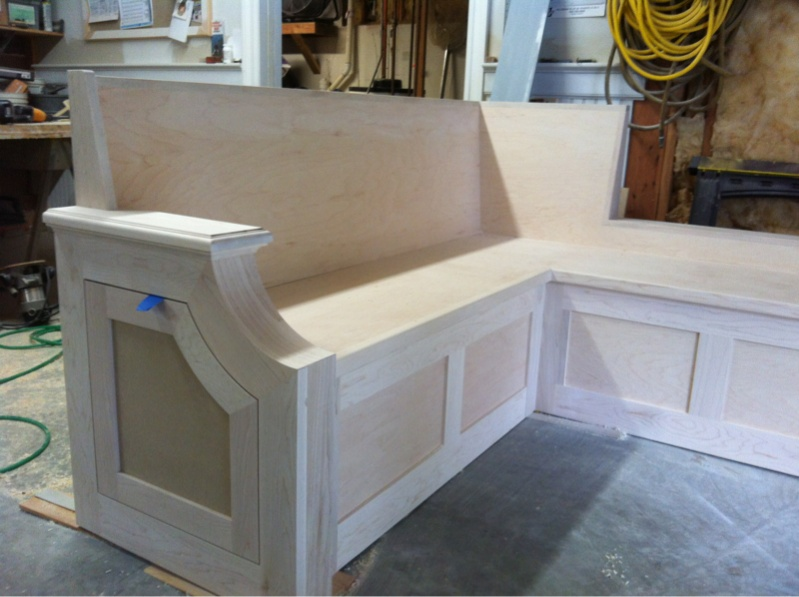 Kitchen bench seat finish carpentry contractor talk - Kitchen table bench plans ...