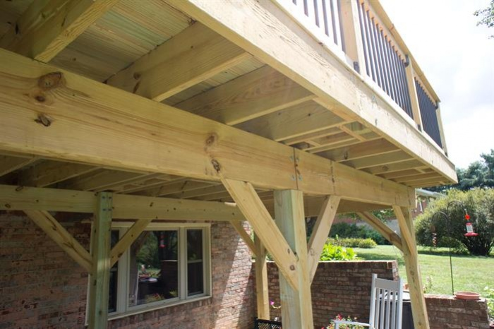 Stand Alone Deck Designs : Free standing deck against limestone exterior advice