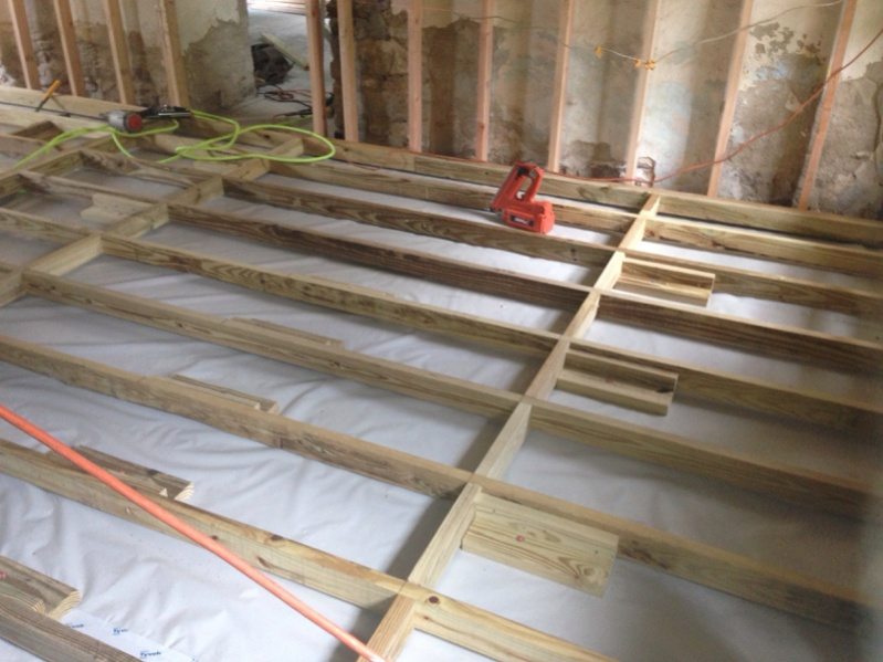 Framing a floor over concrete carpentry contractor talk for Elevated floor