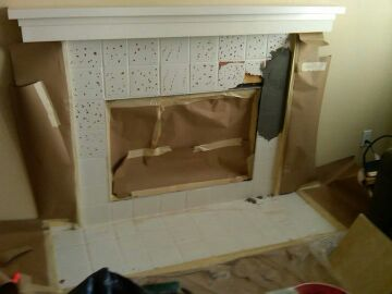Tile on brick fireplace tiling contractor talk - Tiling a brick fireplace ...