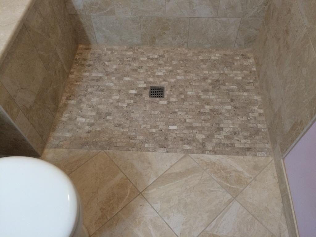 Capillary Water Movement Curbless Shower Tiling