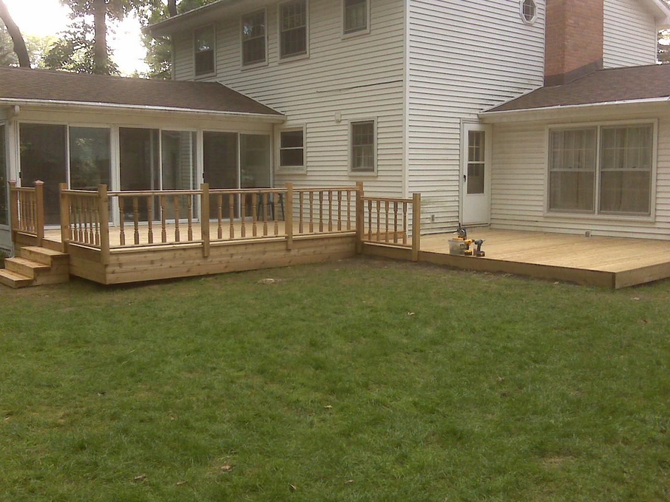 1st cedar deck decks fencing contractor talk for Easy deck ideas