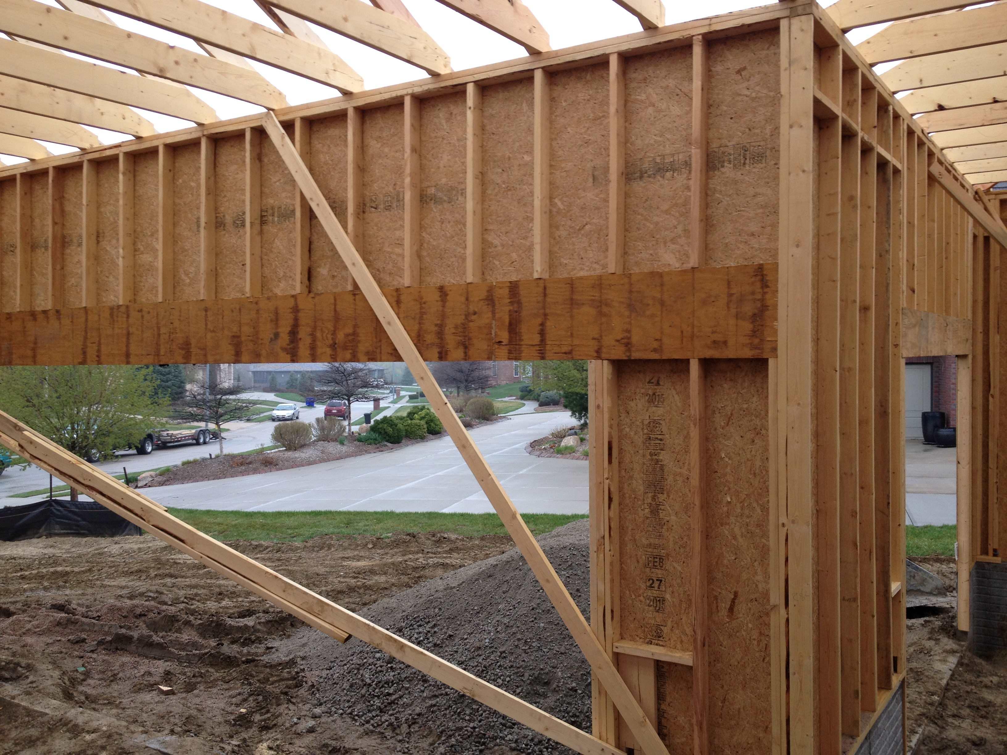 Garage door headers at door height or top of wall page for How tall is a garage door