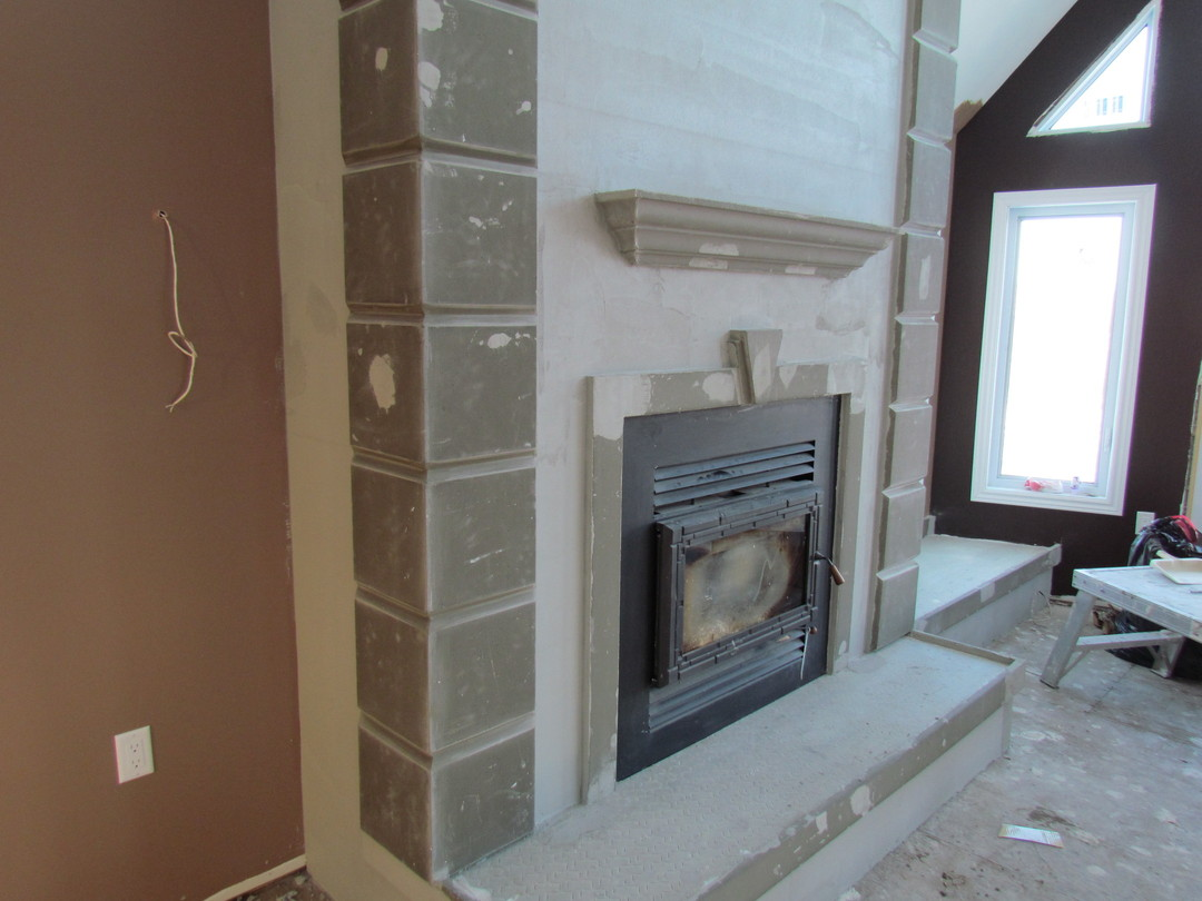 Custom Stucco Fireplace Precision Taping Drywall Picture Post Contracto