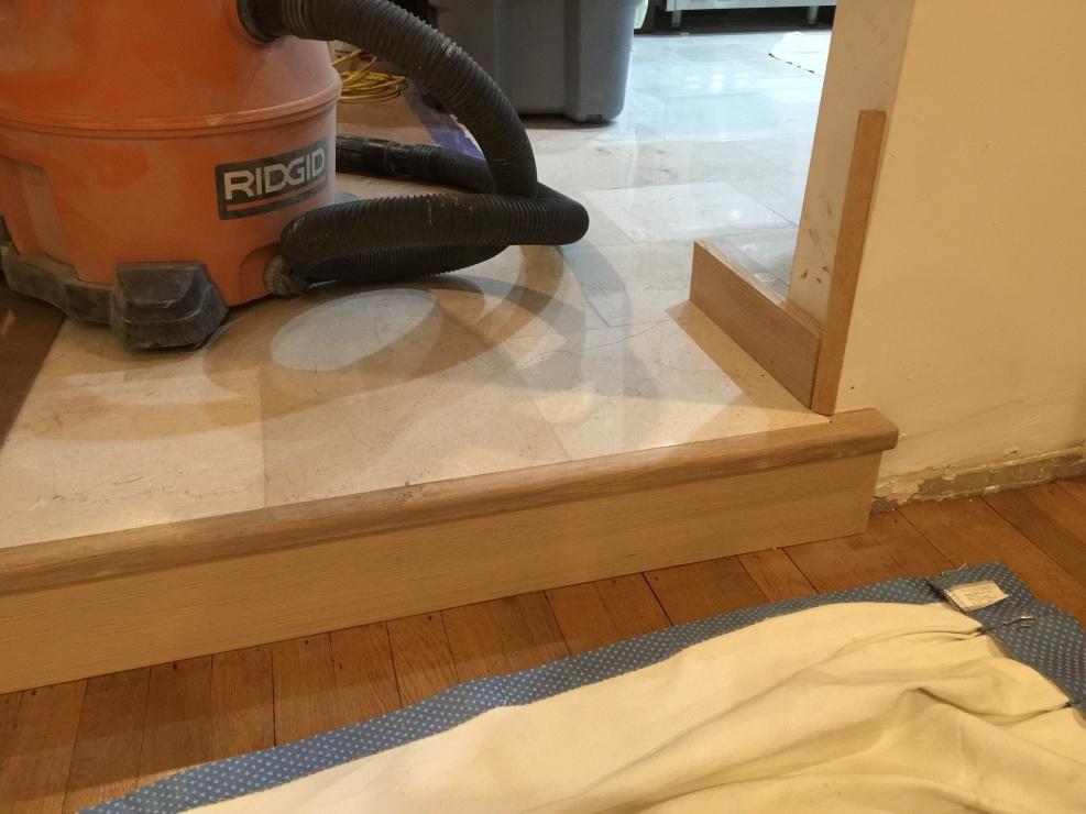 Marble Step Transition Into Sunken Living Room - Flooring ...