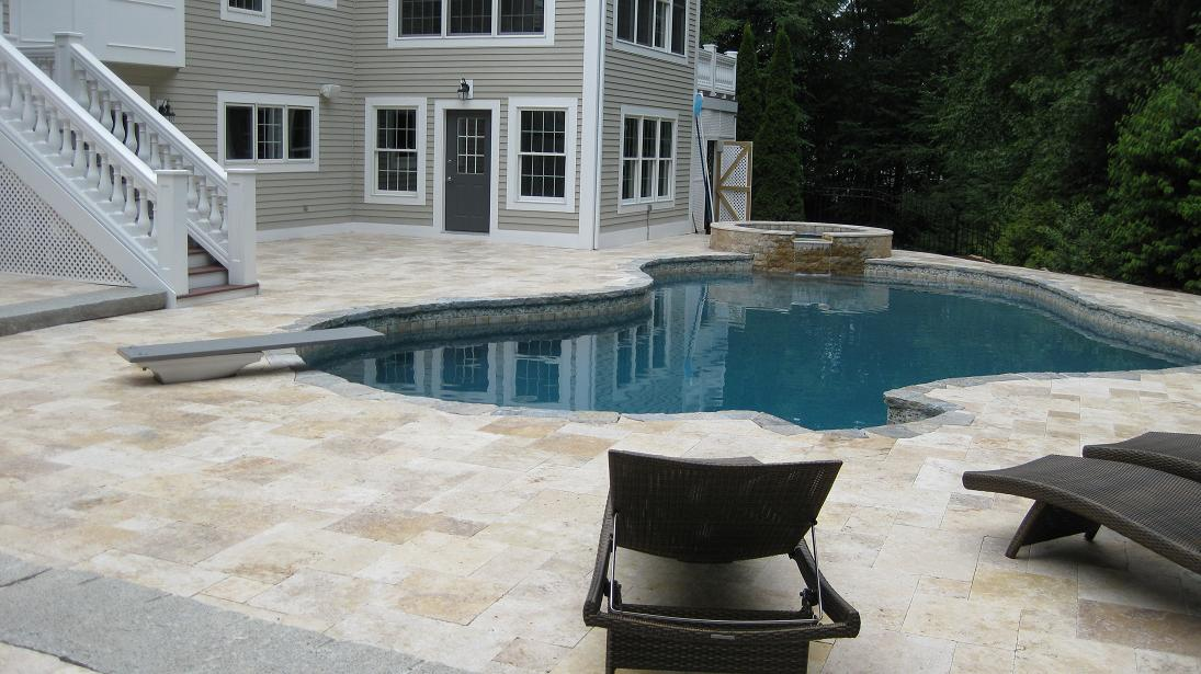 Travertine Pool Patio, Granite Coping. Img_3106