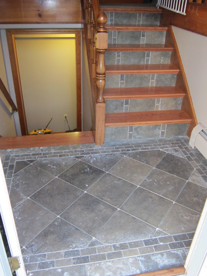 Foyer Tile Zone : Split level foyer from carpet to hard wood treads tile