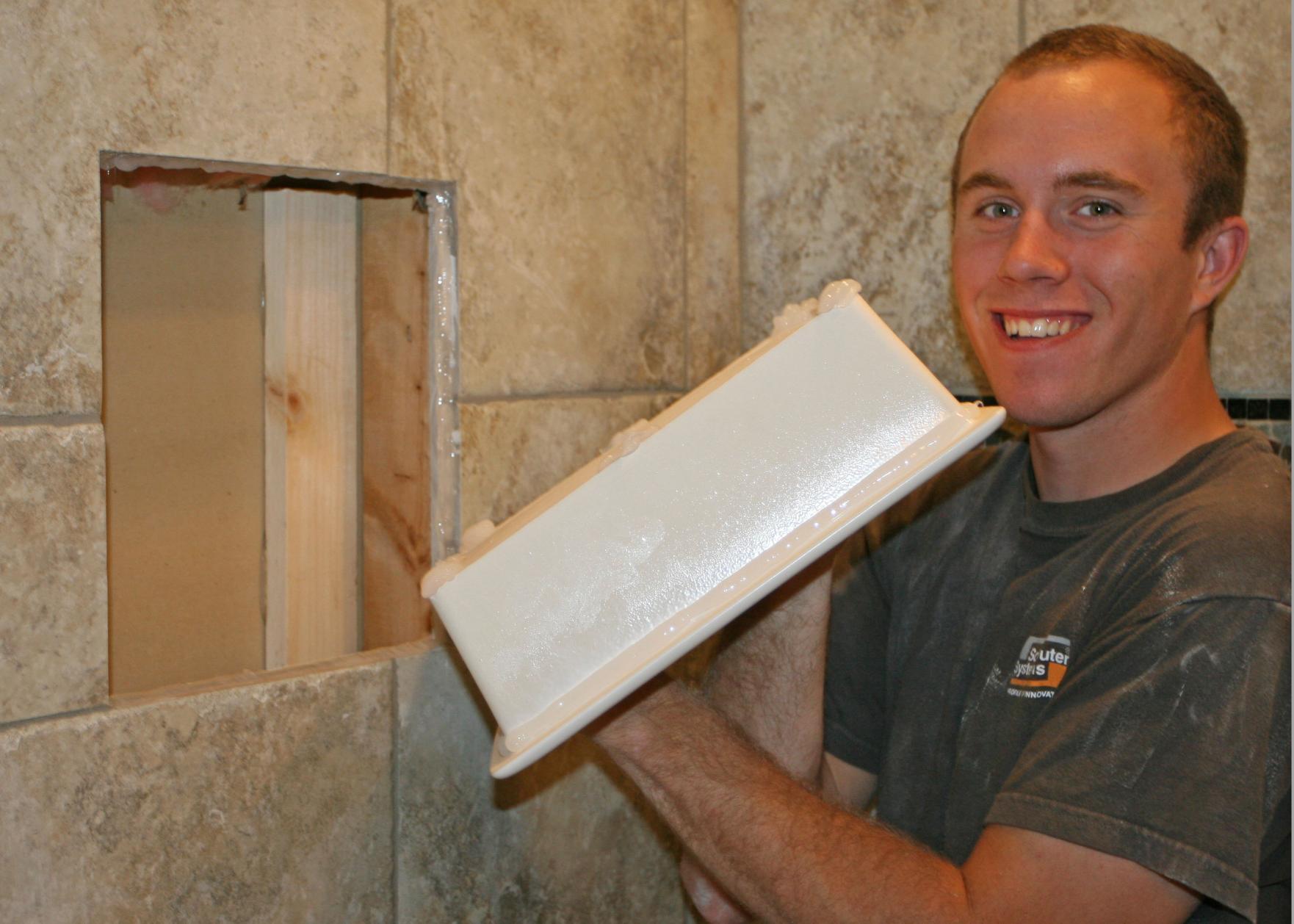 how to install a recessed shower shelf bathroom. Black Bedroom Furniture Sets. Home Design Ideas