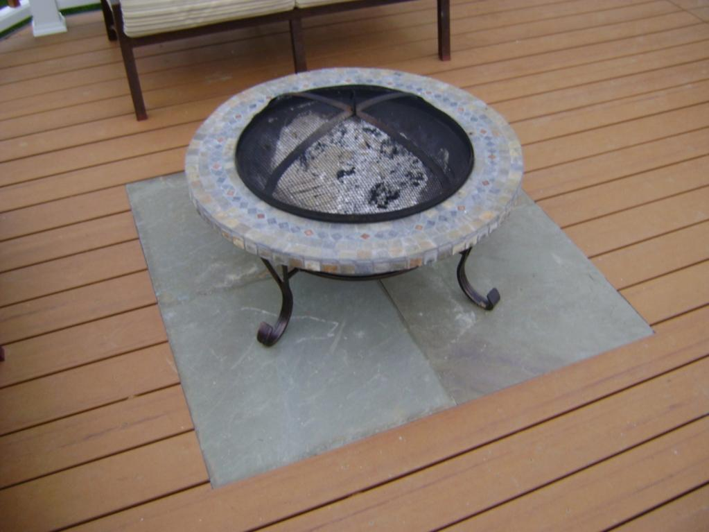 Inlay Slate On Comp Deck For Fire Pit Set Slate