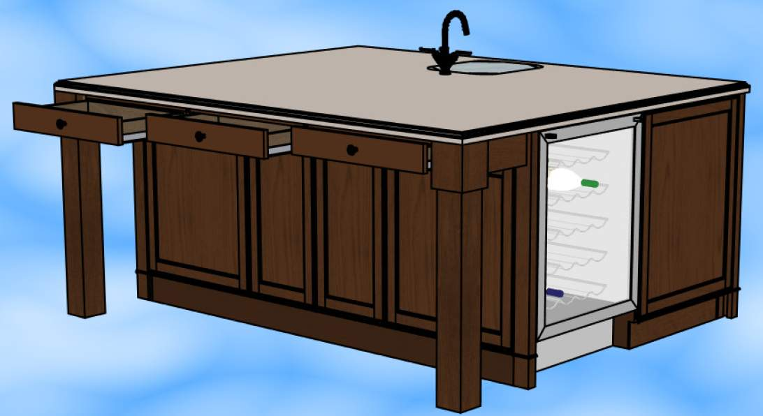 Side of kitchen island wine fridge For the Home