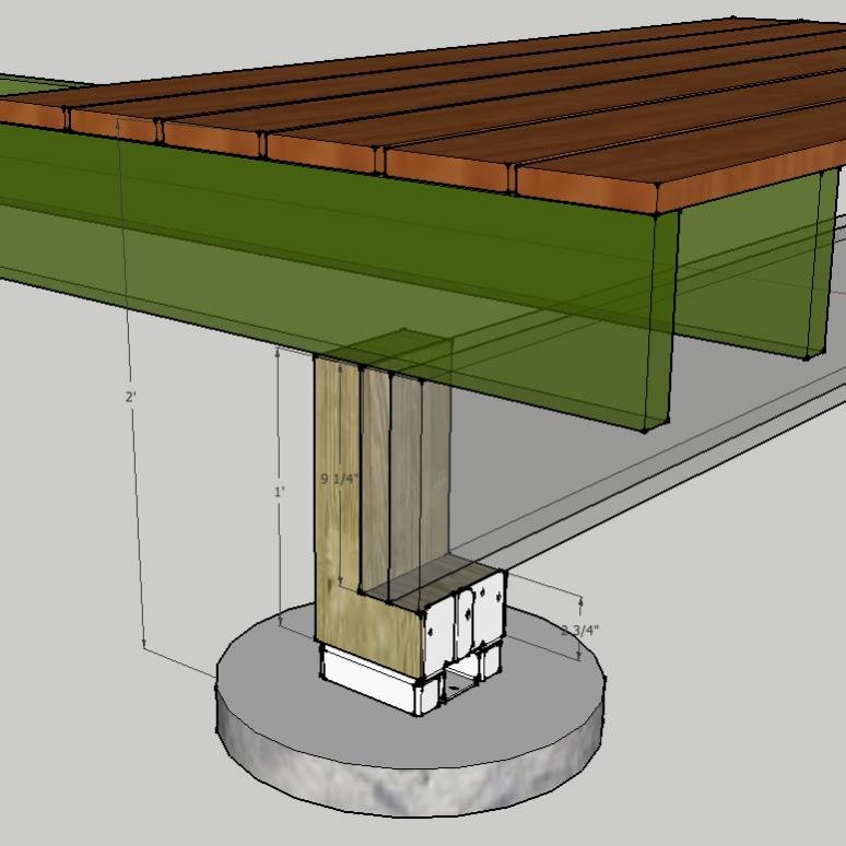 Deck Too Low For Notched Post And Beam Support? - Decks