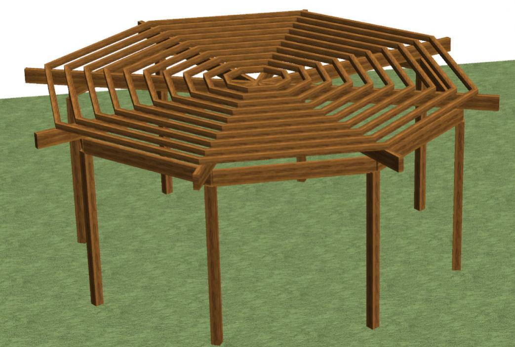 Bench plan august 2014 for Octagon deck plans free