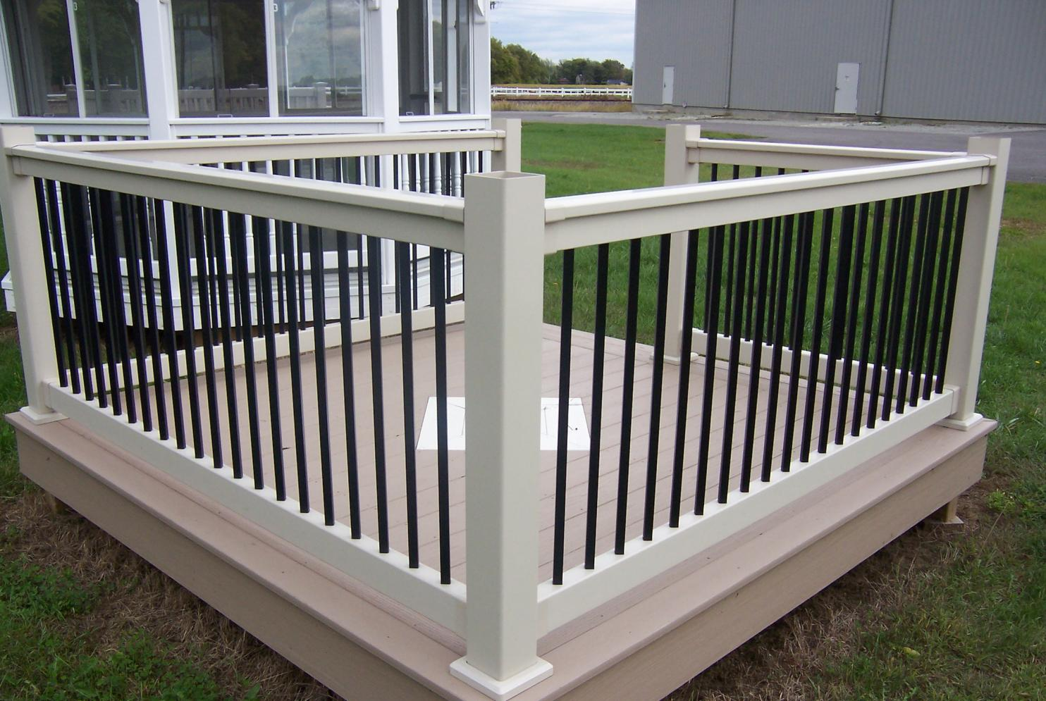 vinyl railing with black balusters decks fencing contractor talk. Black Bedroom Furniture Sets. Home Design Ideas