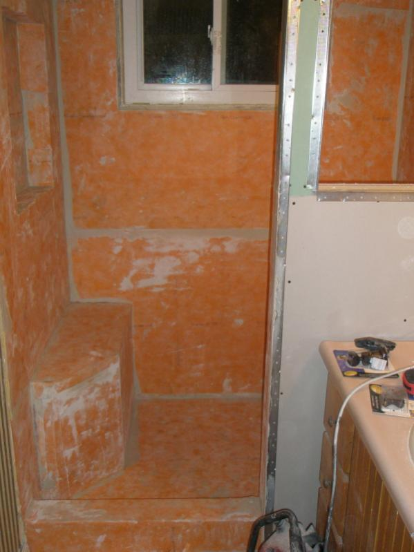 First stab at the kerdi shower system tiling - Ditra shower system ...