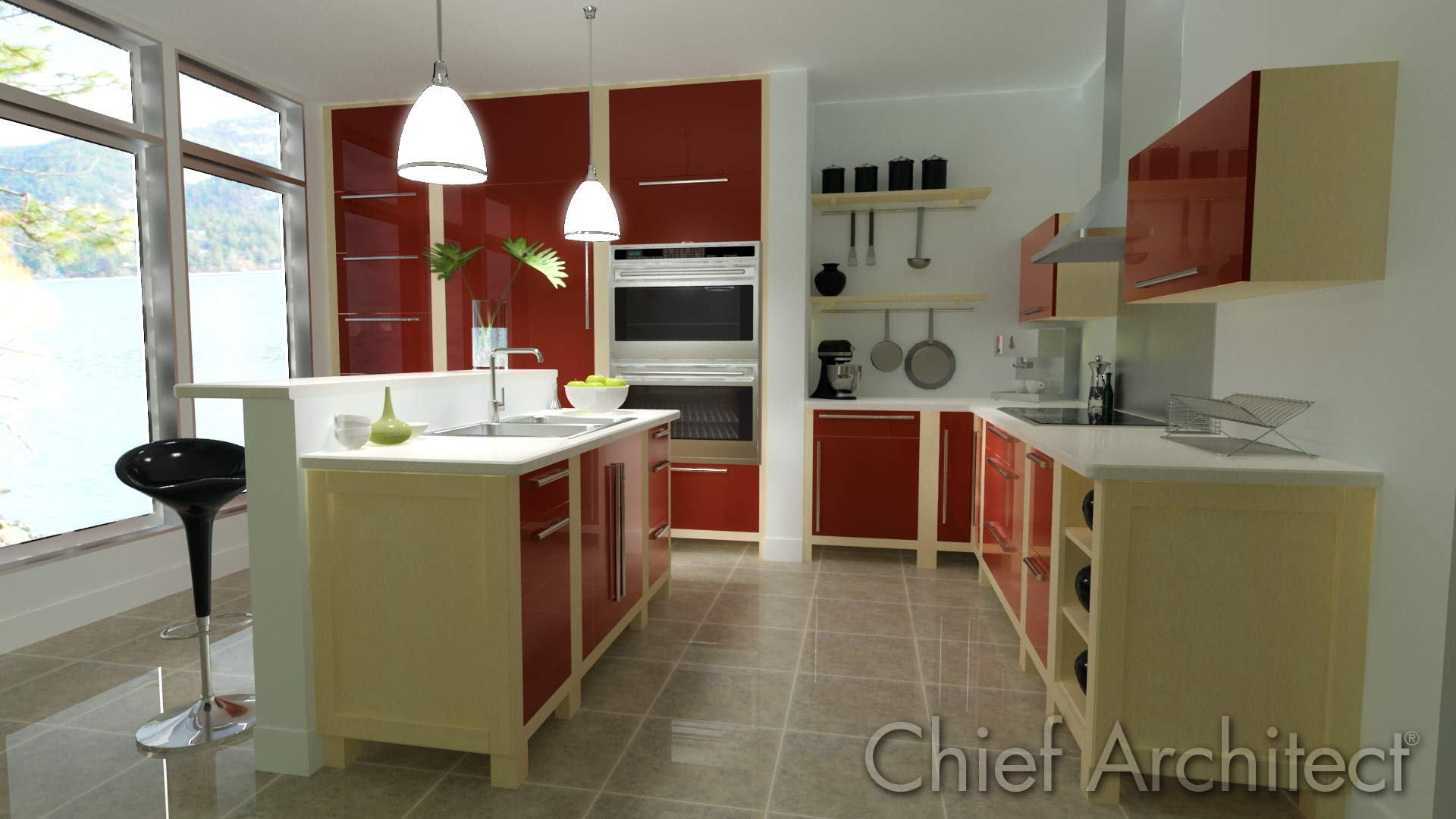Anything else look as realistic as intericad for Kitchen designs with lots of windows