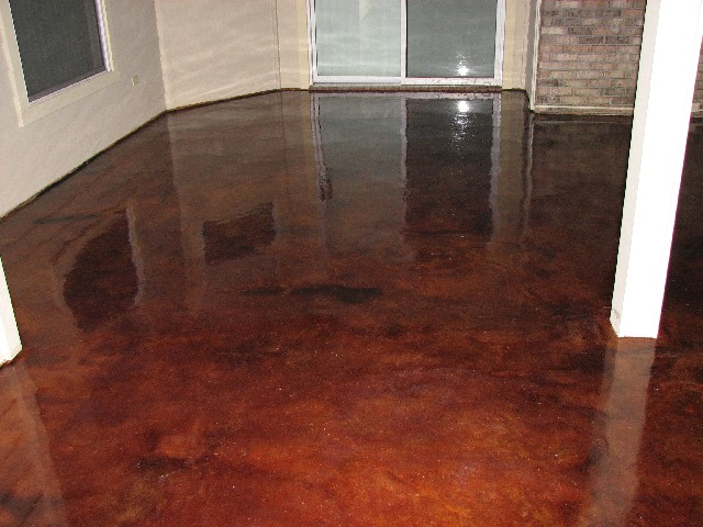 New sunroom addition acid stained floor painting for Solarium flooring