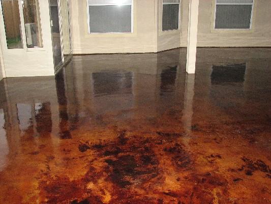 New Sunroom Addition Acid Stained Floor Painting