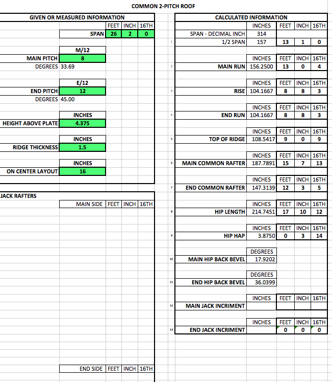 Roof Framing Calculating Spreadsheet - File Swap - Contractor Talk