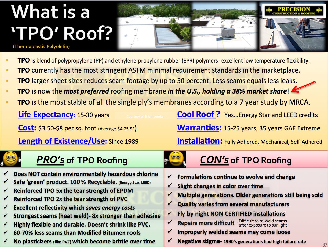 Commercial Roof Tpo Vs Pvc Vs Modified Bitumen Roofing