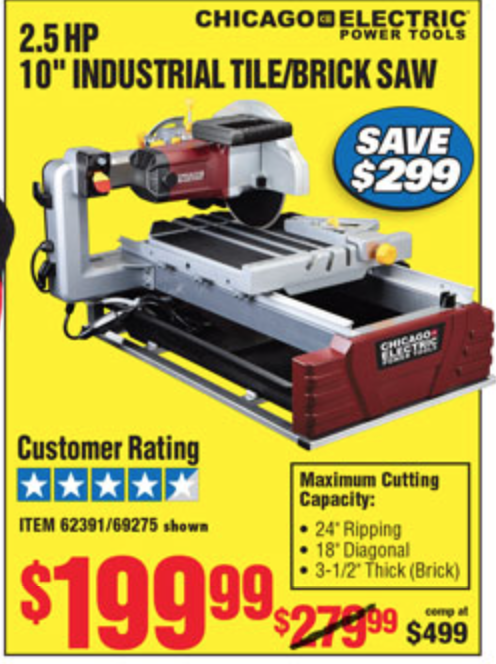 Wet Tile Saws At Harbor Freight Saw Palmetto For Bph