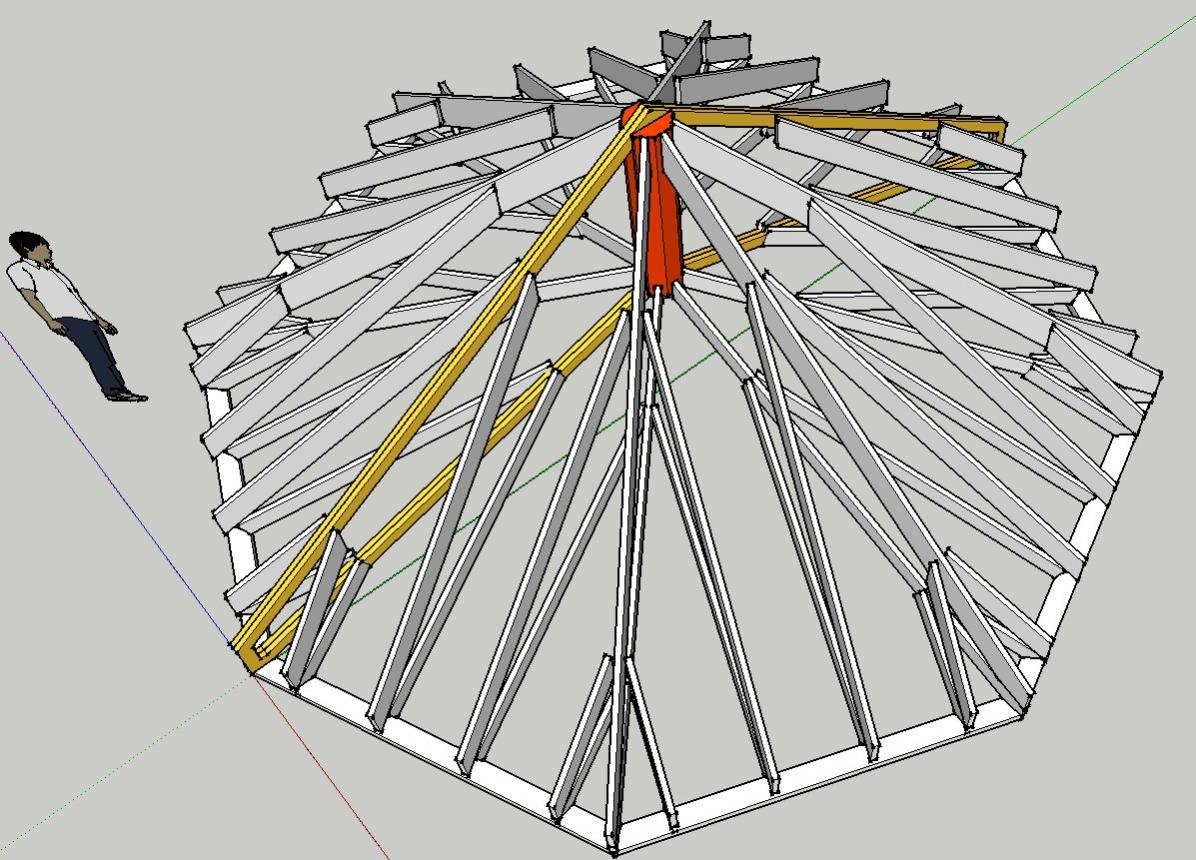 Truss enabled octagonal roof with cathedral ceiling under for Cathedral ceiling trusses