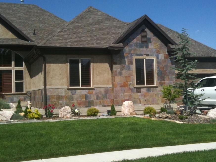 Exterior Wall Tile : Heavy slate tile as an exterior wainscot doityourself