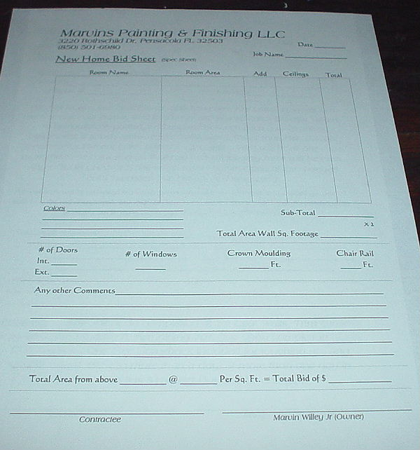 Home building bid sheets for Home construction specification sheet