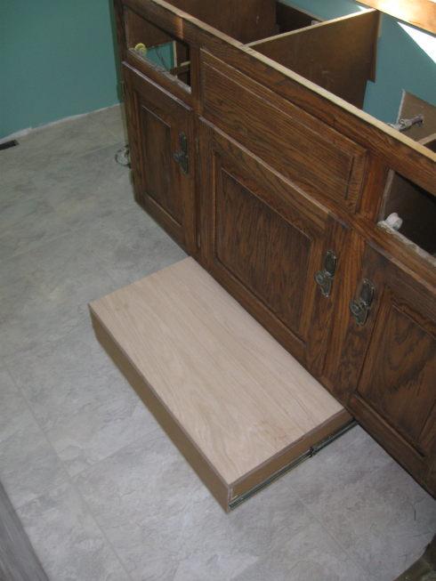 Vanity Toekick Space Step Stool/Storage